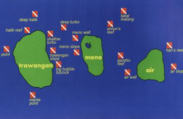 Dive map, Three Gilis