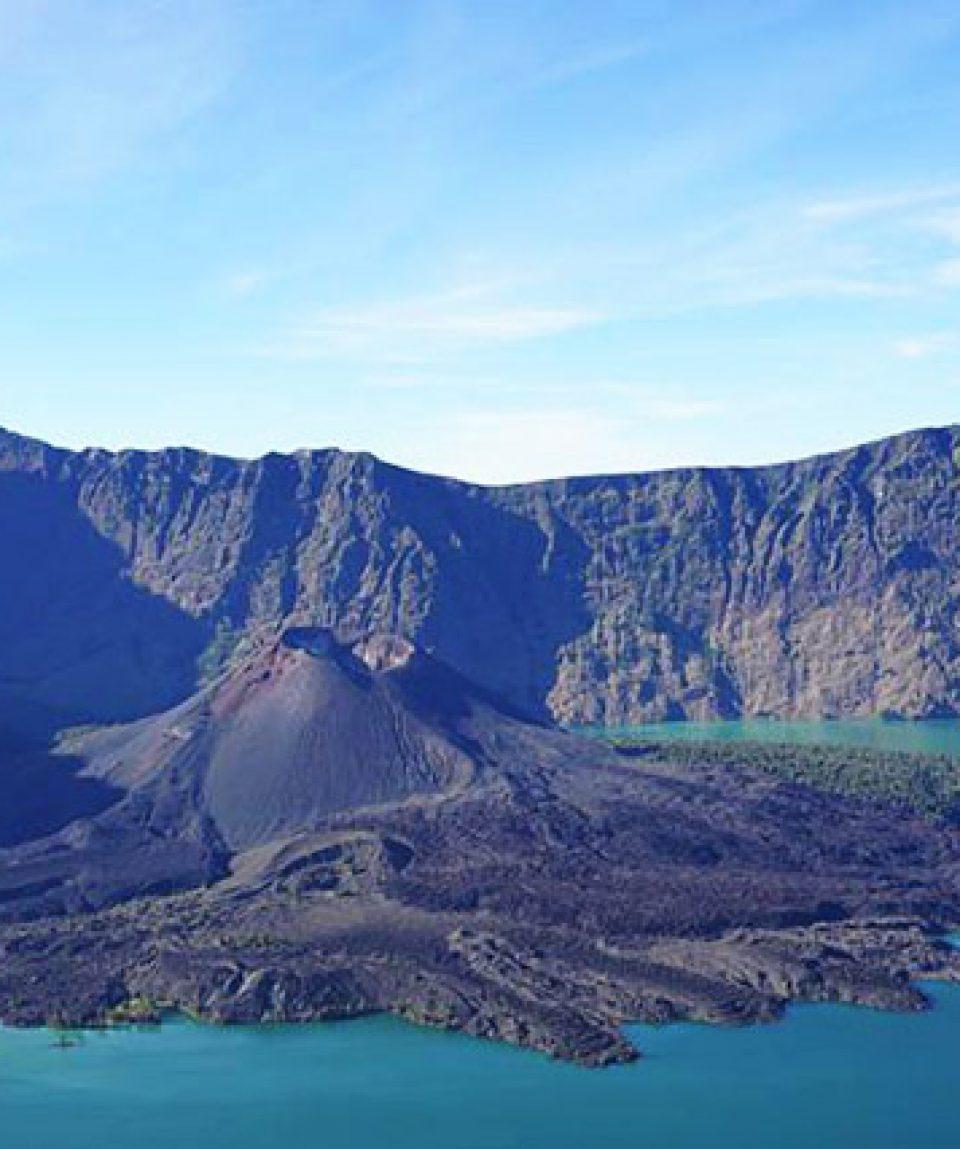 Rinjani with lake, Lombok